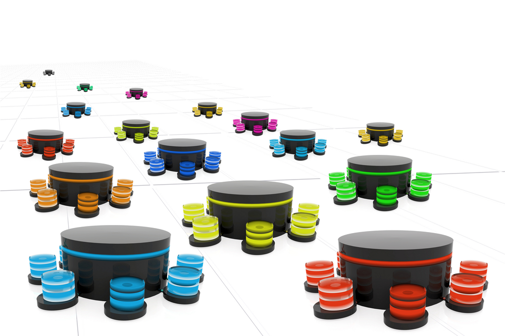 3d rendered cylinders to show a database concept on a tiled floor